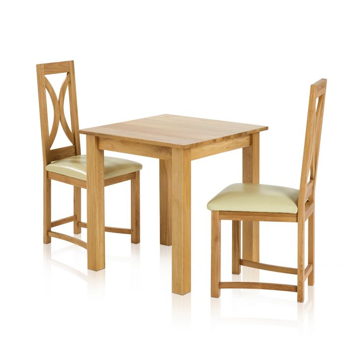 "Provence Natural Solid Oak Dining Set: Hudson 2ft 6"" Small Dining Table And 2 Chairs In Cream Leather"