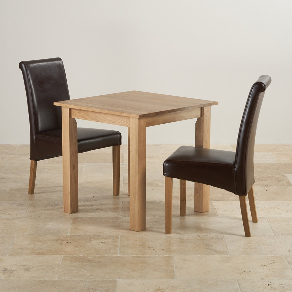 Hudson Dining Set in Natural Oak - Table + 2 Leather Chairs