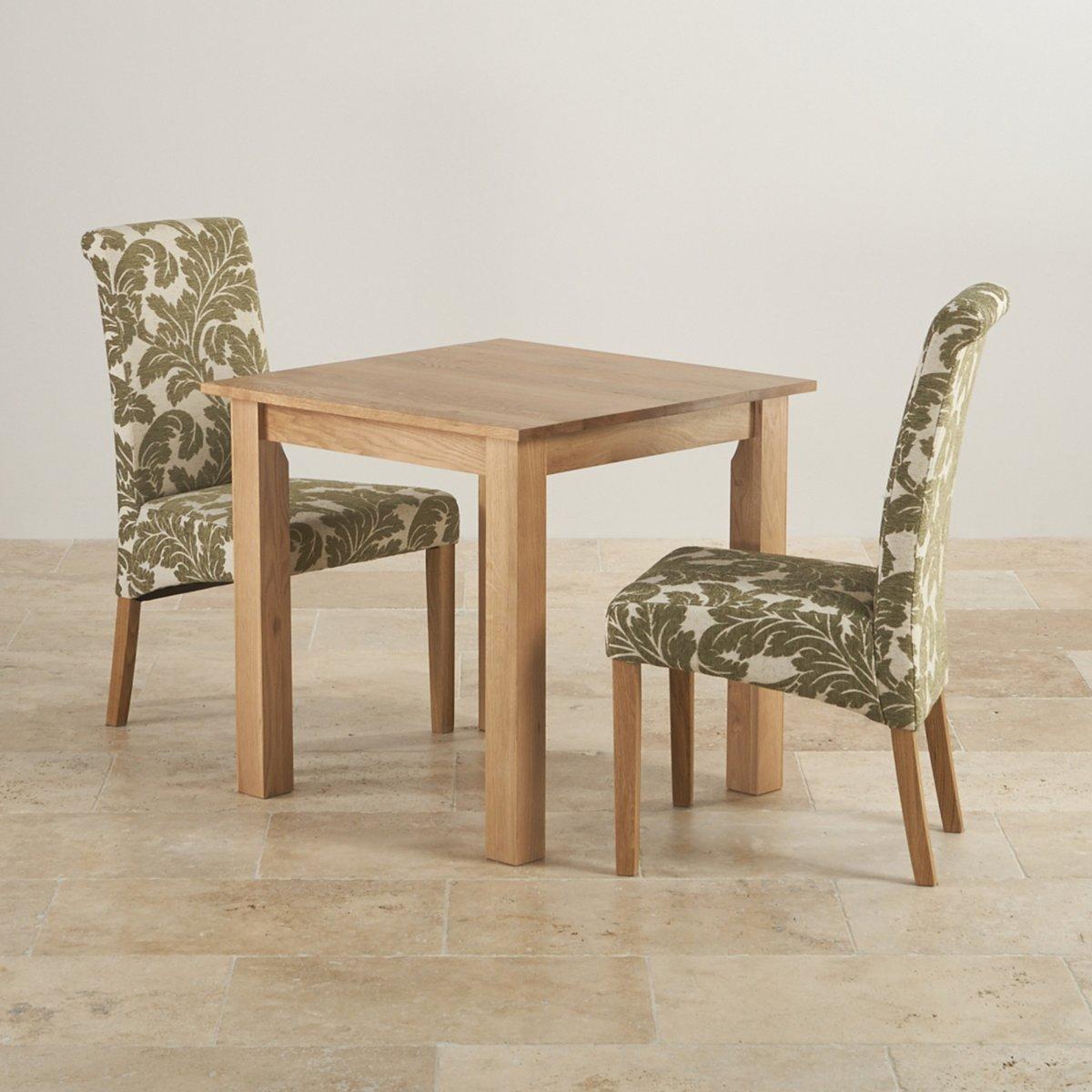 Oak Dining Sets: Hudson Dining Set In Solid Oak: Table + 2 Patterned Beige
