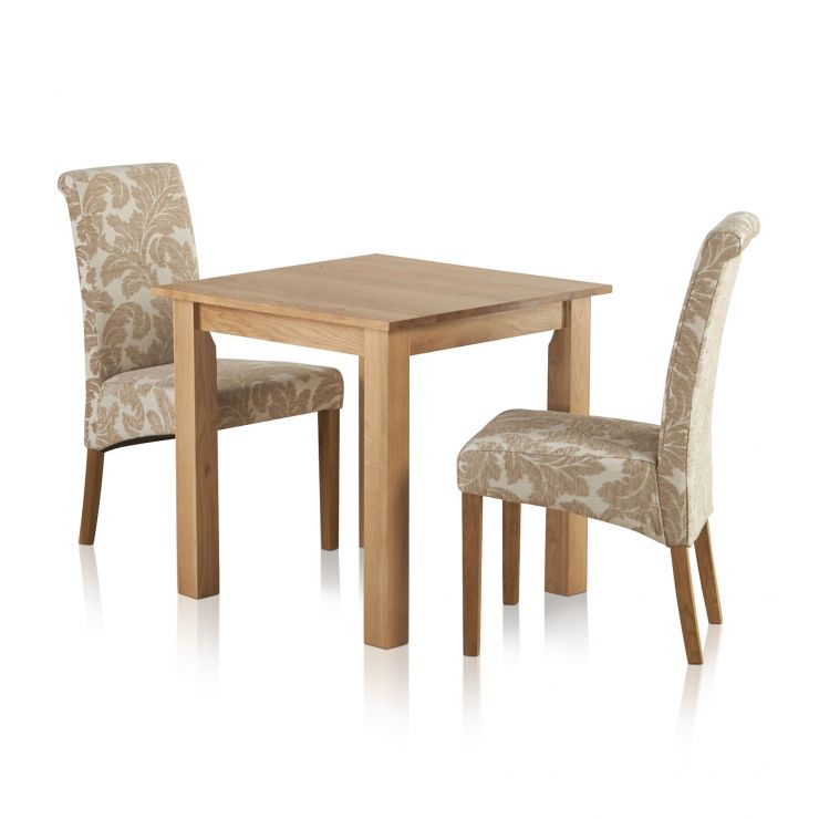 Hudson Natural Solid Oak Dining Set 2ft 6 Table With 2 Scroll Back Patterned Beige Fabric Chairs
