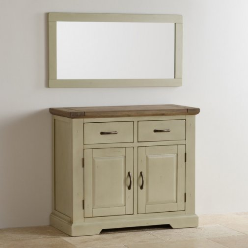 Isabella Brushed Acacia and Painted Wall Mirror