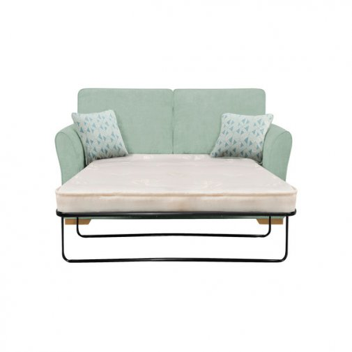 Jasmine 2 Seater Sofa Bed with Deluxe Mattress in Cosmo Duck Egg with Bamboo Aqua Scatters