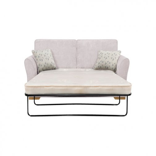 Jasmine 2 Seater Sofa Bed with Deluxe Mattress in Cosmo Silver with Bamboo Slate Scatters