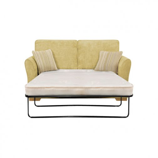 Jasmine 2 Seater Sofa Bed with Deluxe Mattress in Lime with Salsa Summer Scatters