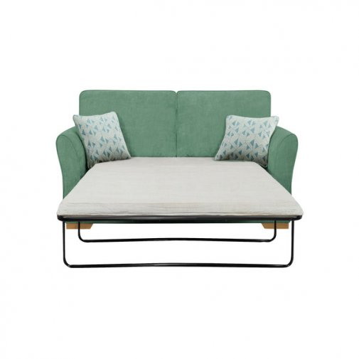 Jasmine 2 Seater Sofa Bed with Standard Mattress in Cosmo Jade with Bamboo Aqua Scatters