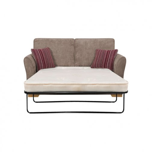 Jasmine 2 Seater Sofa Bed with Standard Mattress in Grey with Salsa Raspberry Scatters