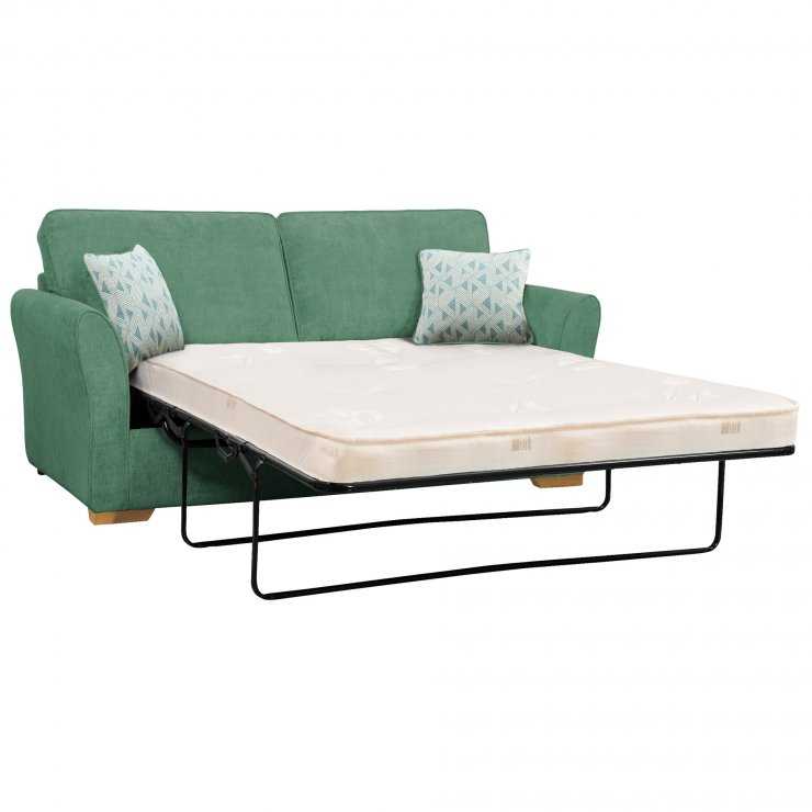 Jasmine 3 Seater Sofa Bed with Deluxe Mattress in Cosmo Jade with Bamboo Aqua Scatters