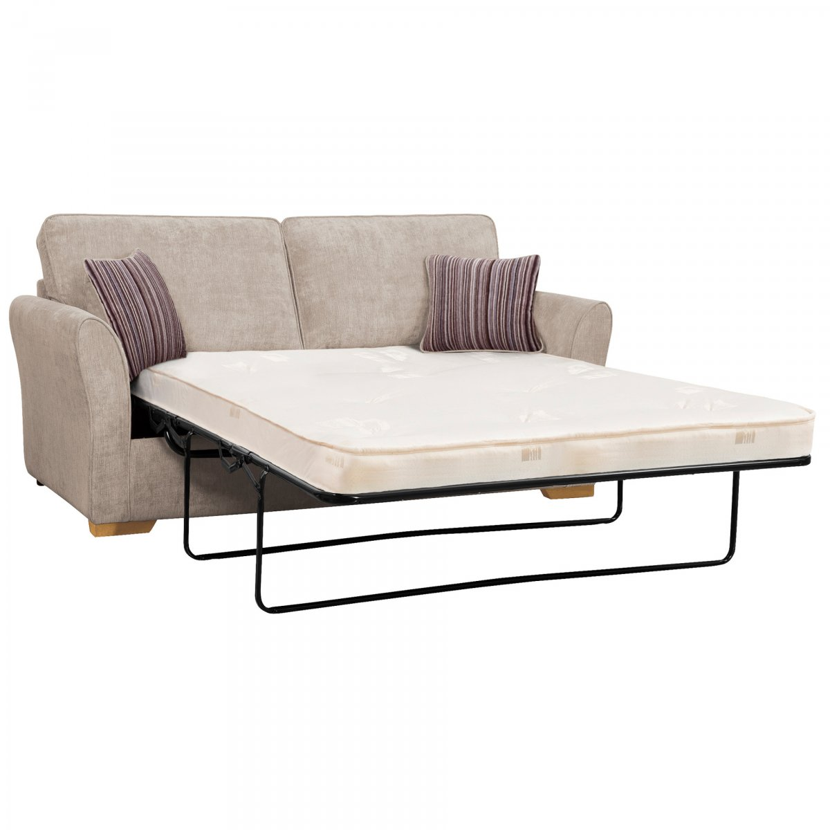 Jasmine 3 seater sofa bed with standard mattress in silver for Sofa bed 180cm