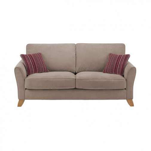 Jasmine 3 Seater Sofa in Grace Fabric - Grey with Raspberry Scatters