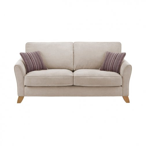 Jasmine 3 Seater Sofa in Grace Fabric - Silver with Taupe Scatters