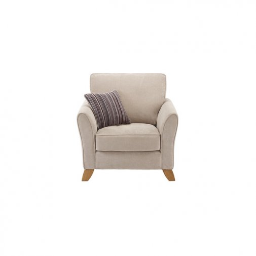 Jasmine Armchair in Grace Fabric - Silver with Taupe Scatter