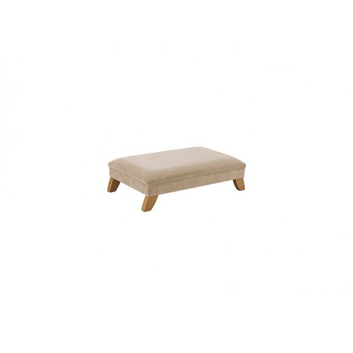 Jasmine Footstool - Linen with Rustic Oak Feet