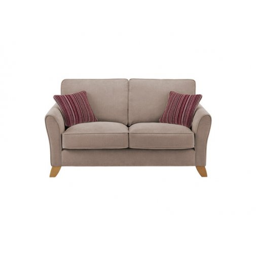 Jasmine 2 Seater Sofa in Grace Fabric - Grey with Raspberry Scatters