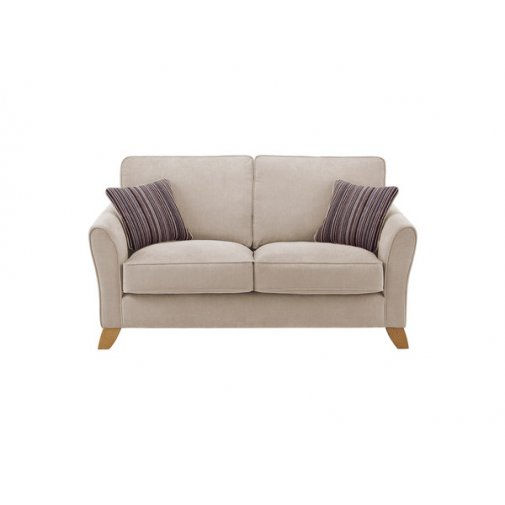 Jasmine 2 Seater Sofa in Grace Fabric - Silver with Taupe Scatters