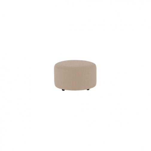 Jasmine Round Footstool in Grace Fabric - Linen