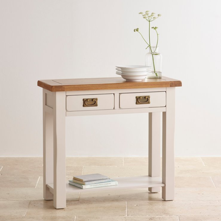 Kemble Painted 2 Drawer Console Table in Rustic Solid Oak : kemble rustic solid oak and painted 2 drawer console table 55e095f3bdb04cb7a87c4642abff75309fb06e869736b from www.oakfurnitureland.co.uk size 740 x 740 jpeg 44kB