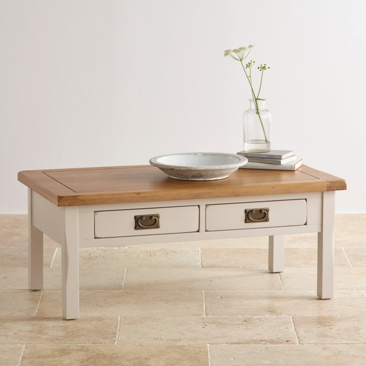 Kemble 4 drawer painted coffee table in rustic solid oak for Table 6 kemble inn