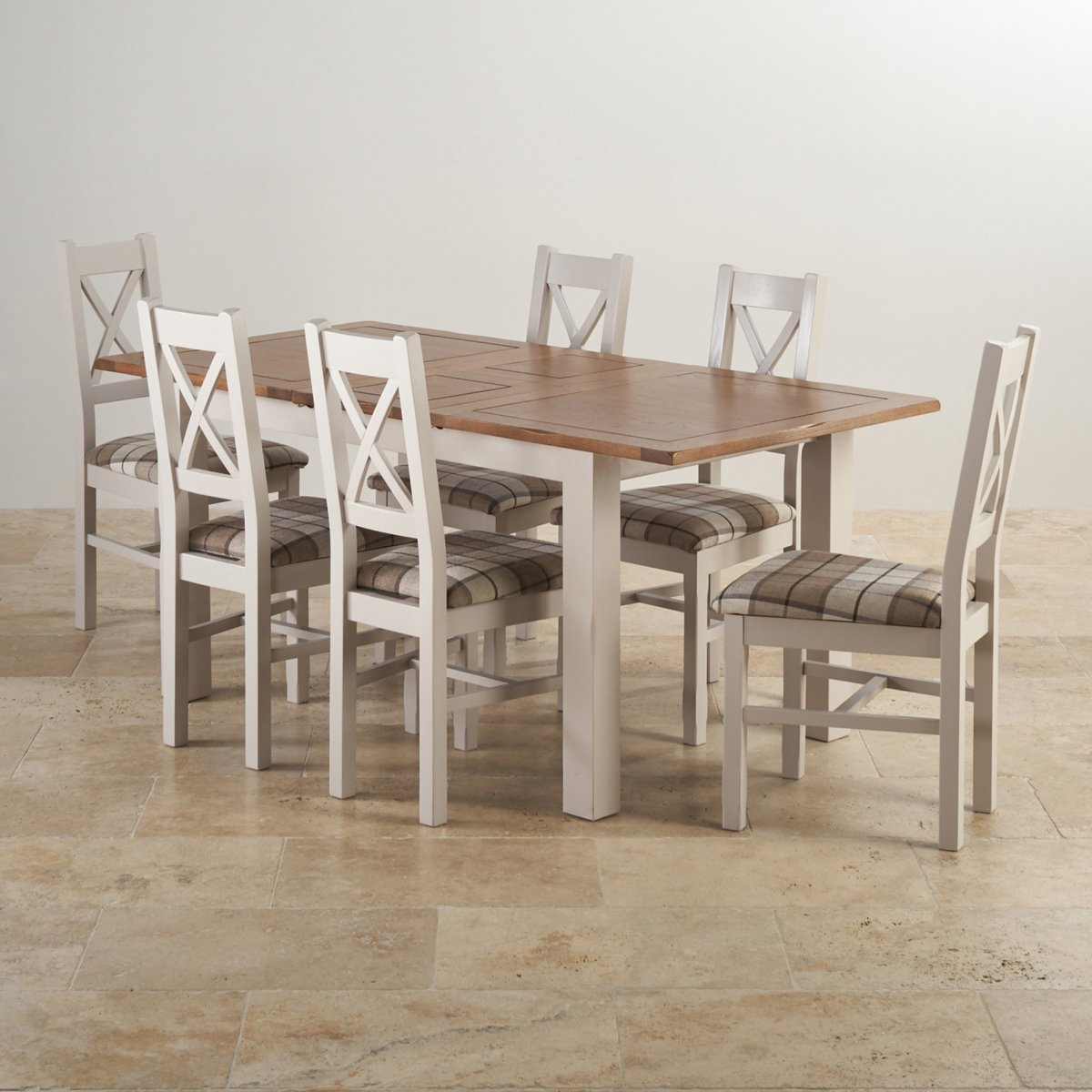 Extendable Dining Set In Rustic Brushed Solid Oak: Kemble Extending Dining Set: Table + 6 Charcoal Fabric Chairs