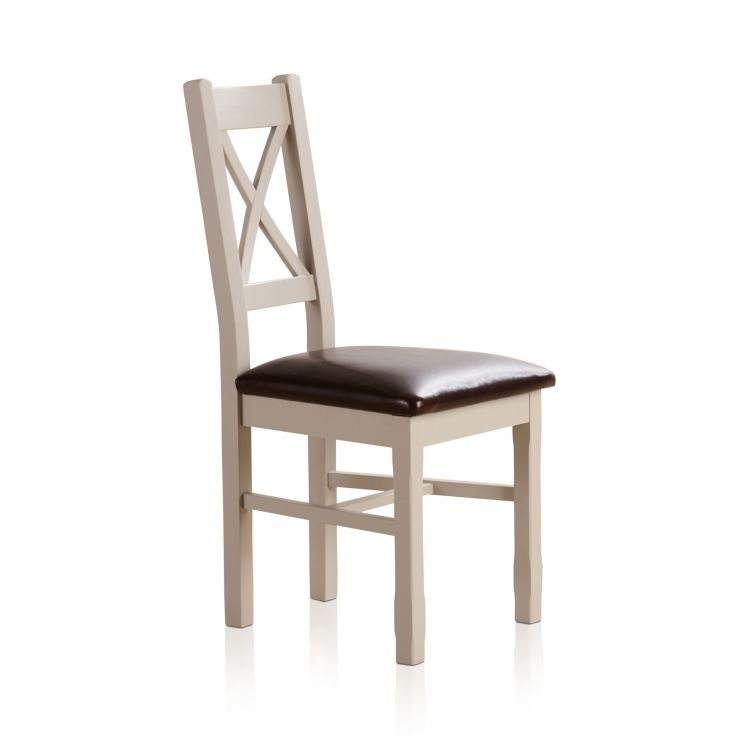 Kemble Rustic Solid Oak and Painted and Brown Leather Dining Chair  sc 1 st  Oak Furniture Land & Kemble Painted Dining Chair in Rustic Solid Oak - Brown Leather