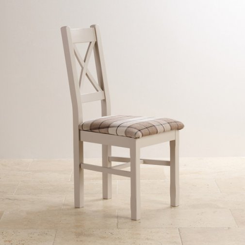 Kemble Rustic Solid Oak and Painted and Check Brown Fabric Dining Chair