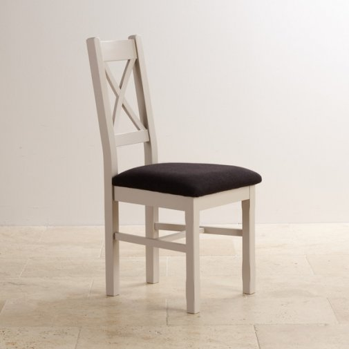 Kemble Rustic Solid Oak and Painted and Plain Black Fabric Dining Chair