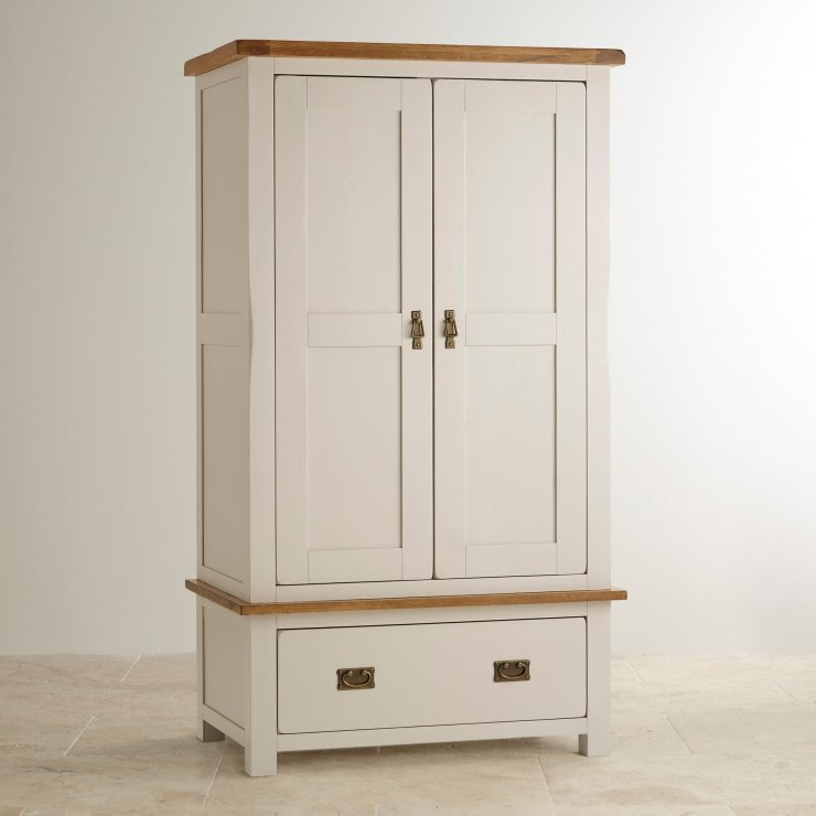 Kemble Rustic Solid Oak and Painted Nursery Wardrobe