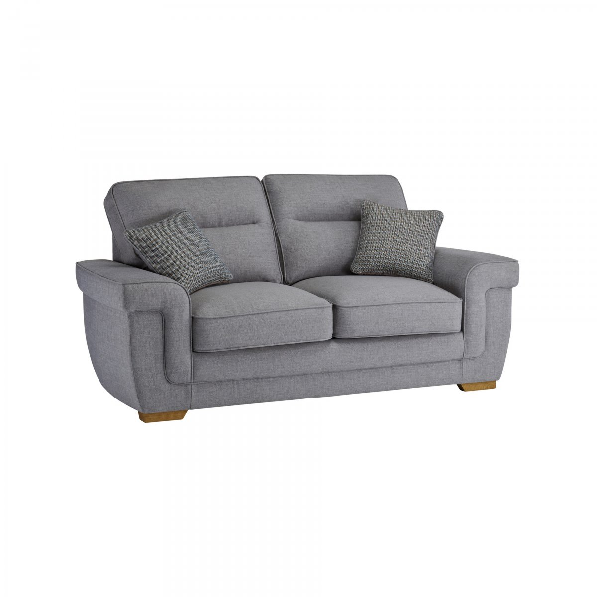 Kirby 2 seater sofa bed with deluxe mattress barley silver for Sofa bed 2 seater uk
