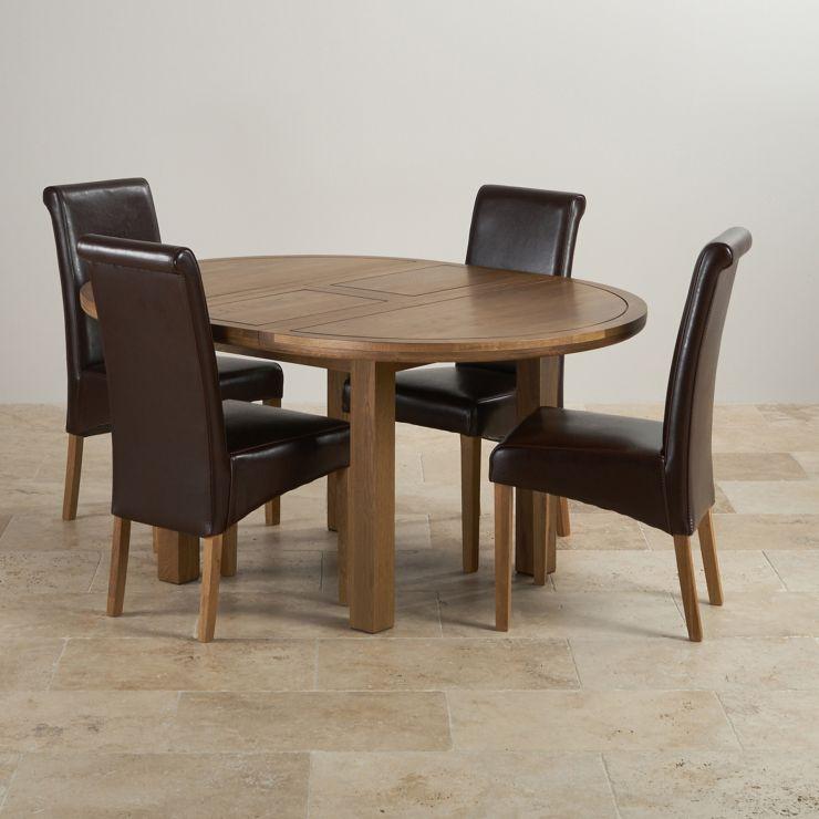 Knightsbridge Round Extending Dining Table Set: Table + 4