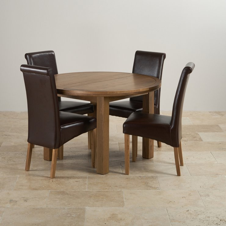 Round Dining Table With Leather Chairs: Knightsbridge Round Extending Dining Table Set: Table + 4