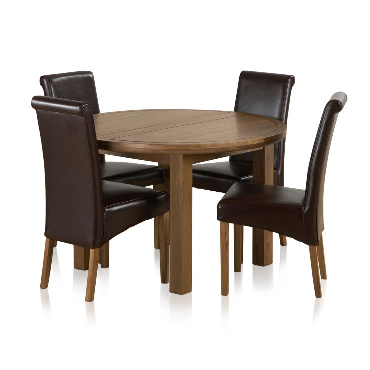 Knightsbridge 4ft Rustic Solid Oak Round Extending Dining Table + 4 Scroll  Back Brown Leather Chairs Express Delivery