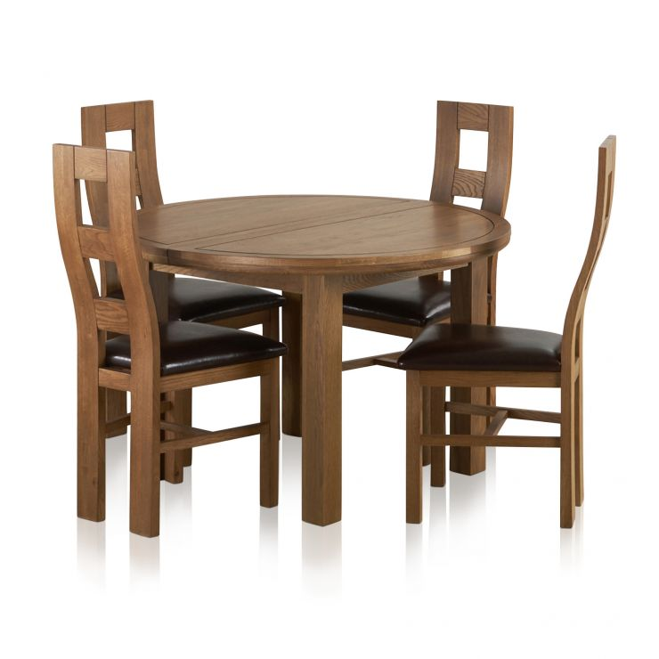 Knightsbridge 4ft Rustic Solid Oak Round Extending Dining Table + 4 Wave  Back Brown Leather Chairs Express Delivery