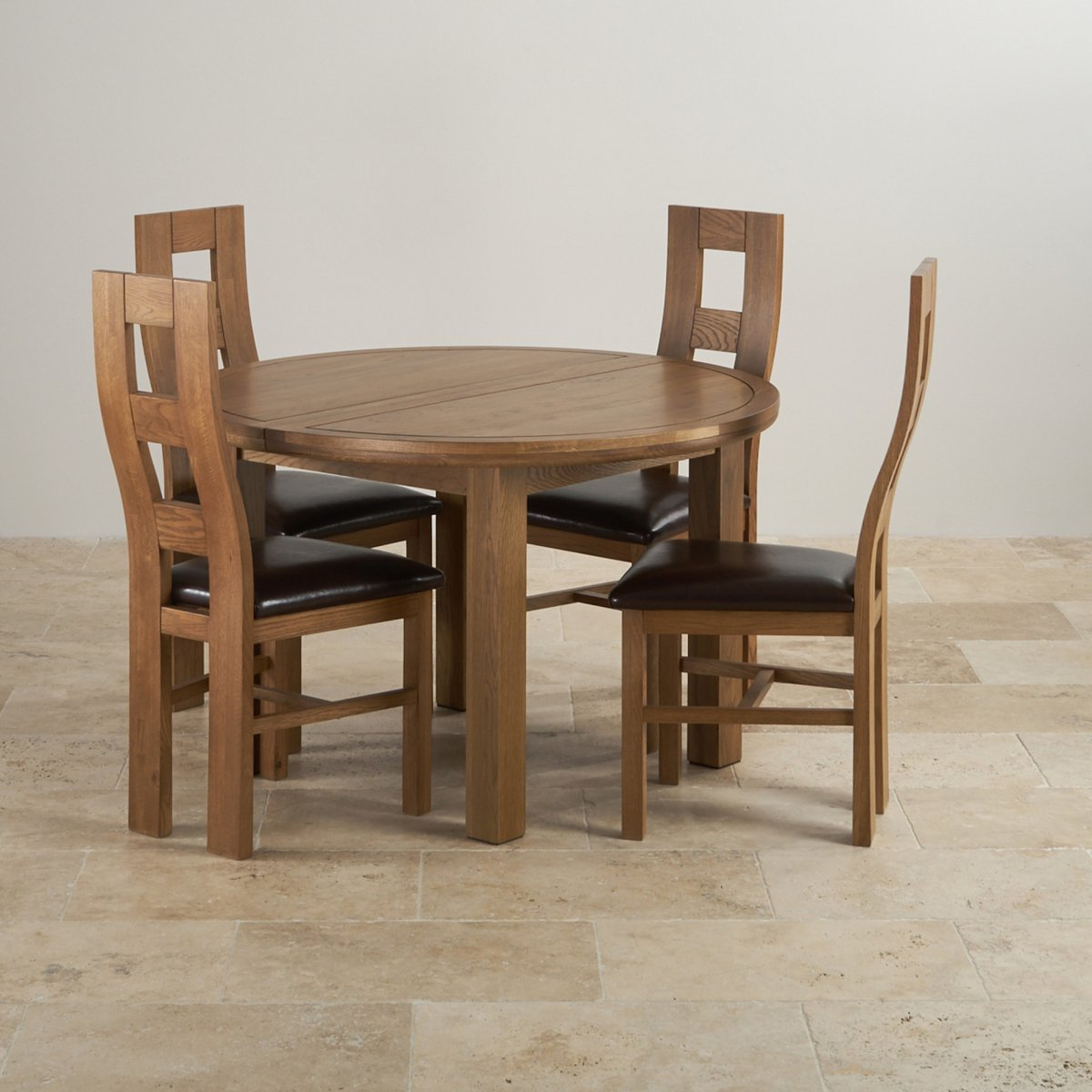 knightsbridge 4ft rustic solid oak round extending dining table 4 wave back brown leather chairs - Oak Round Dining Table