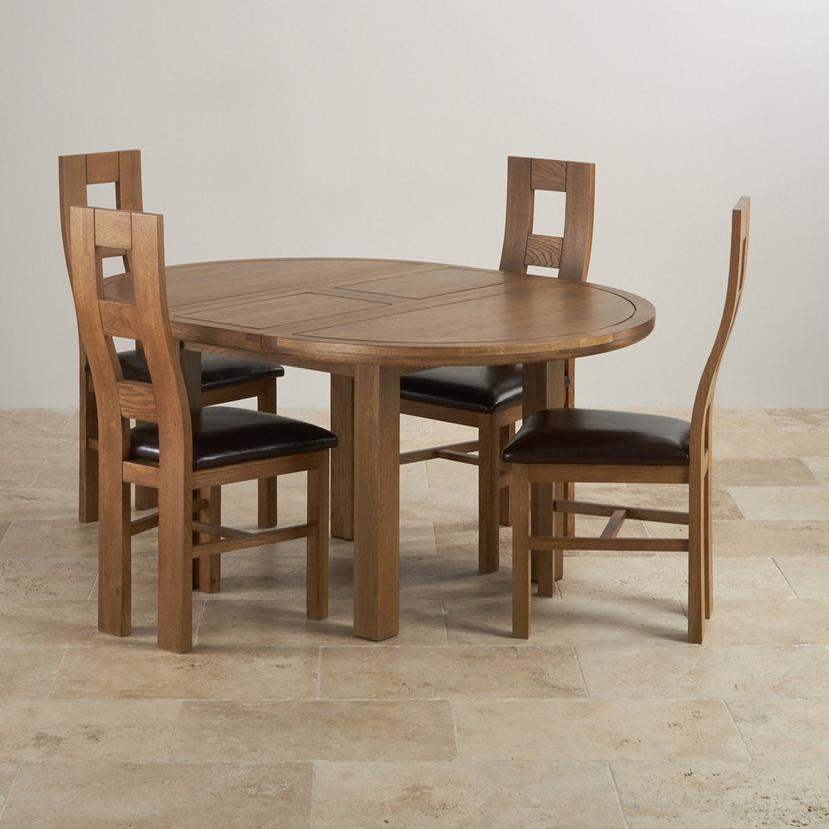 Knightsbridge 4ft Rustic Solid Oak Round Extending Dining Table + 4 Wave  Back Brown Leather Chairs Part 79