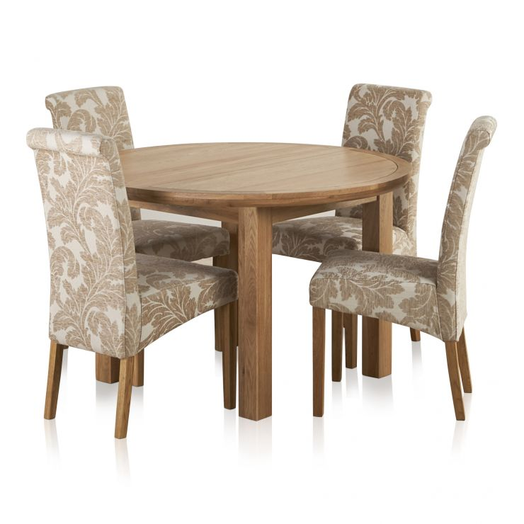 Knightsbridge Natural Oak Dining Set - 4ft Round Extending Table u0026 4 Scroll Back Patterned Chairs  sc 1 st  Oak Furniture Land & Knightsbridge Natural Oak Dining Set - 4ft Round Extending Table u0026 4 Scroll Back Patterned Chairs