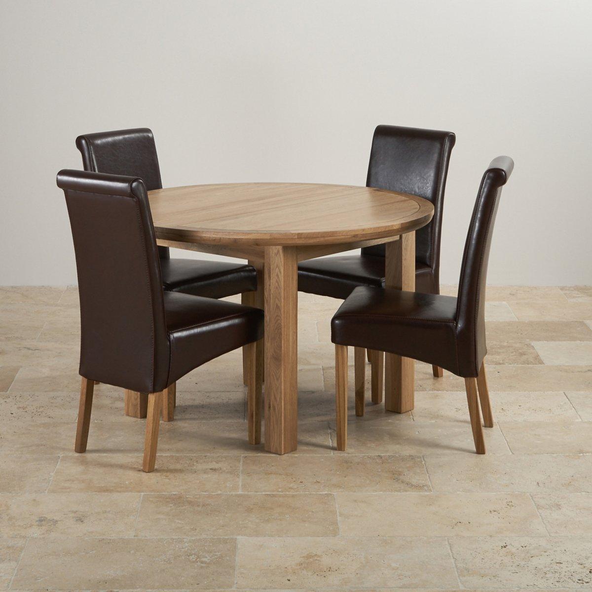 Knightsbridge Round Extending Dining Set Dining Table 4: Knightsbridge Extending Dining Set: Oak Table + 4 Leather