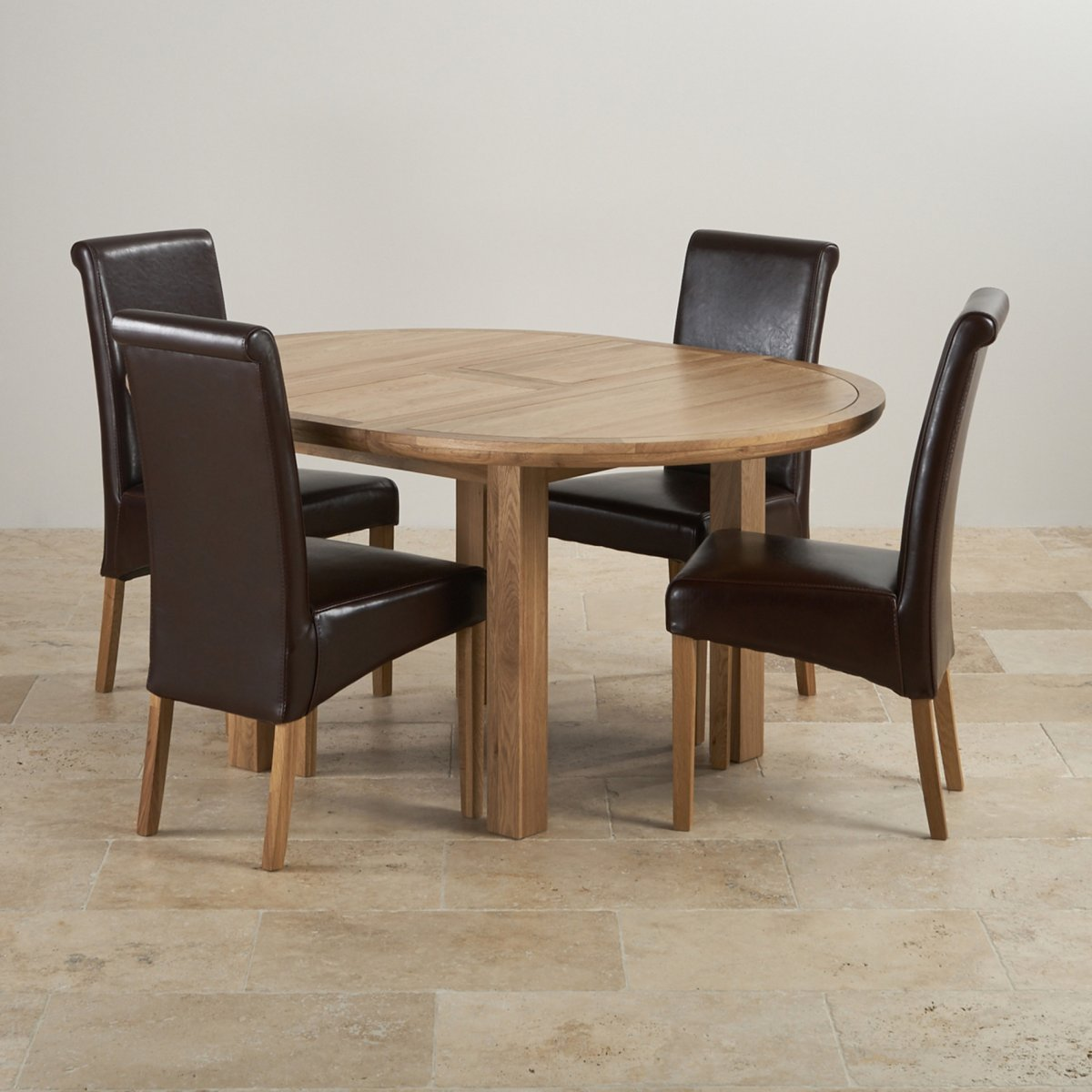 Round Oak Table And Chairs: Knightsbridge Extending Dining Set: Oak Table + 4 Leather