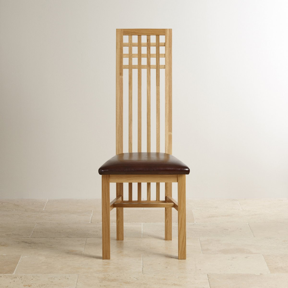 Lattice back dining chair in natural solid oak brown leather product information geotapseo Choice Image