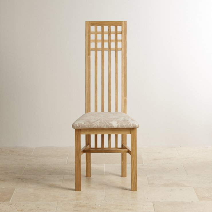 Lattice Back Natural Solid Oak and Patterned Beige Fabric Dining Chair