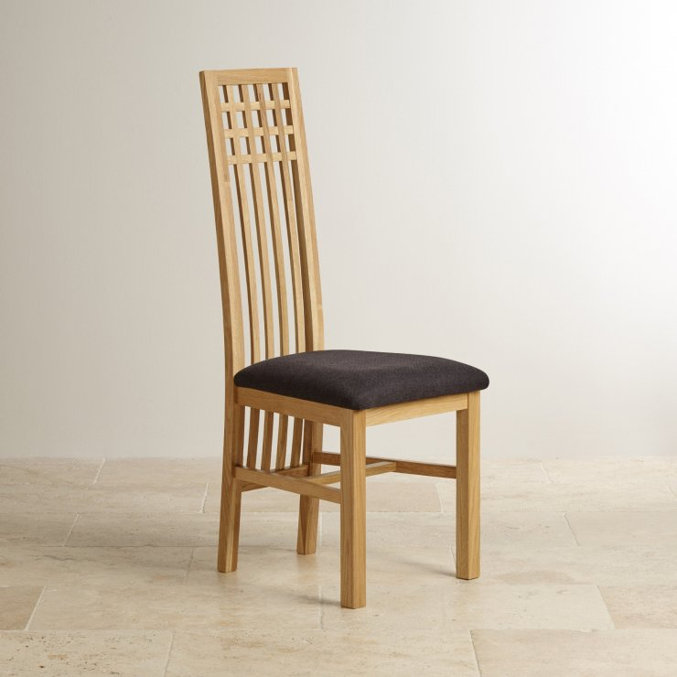 Lattice Back Natural Solid Oak and Plain Black Fabric Dining Chair