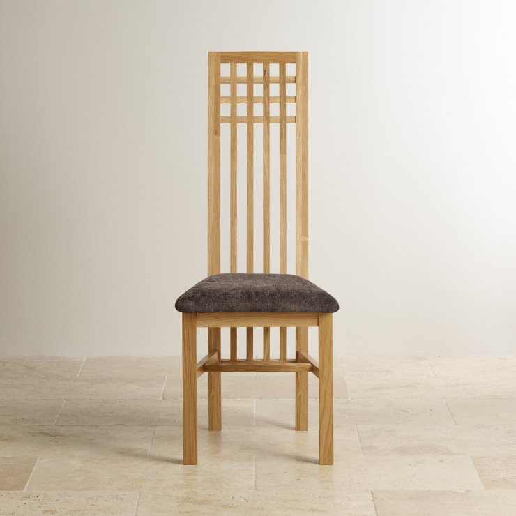 Lattice Back Natural Solid Oak and Plain Charcoal Fabric Dining Chair