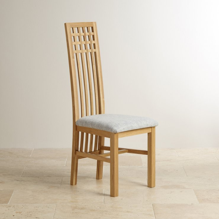 Lattice Back Natural Solid Oak and Plain Grey Fabric Dining Chair