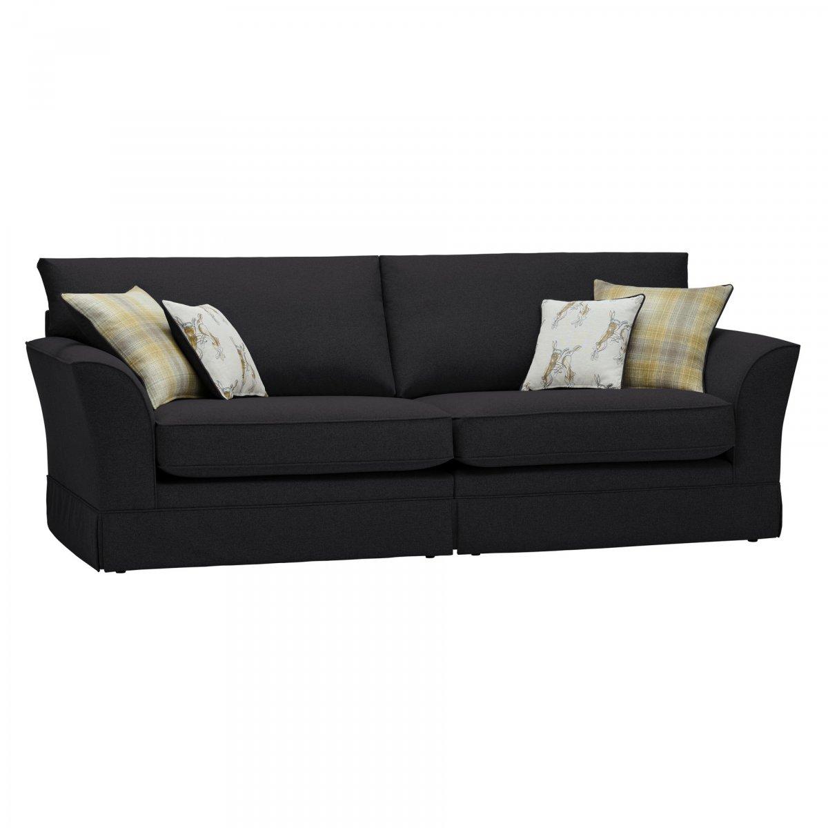 liberty 4 seater sofa in hawkshead charcoal fabric. Black Bedroom Furniture Sets. Home Design Ideas