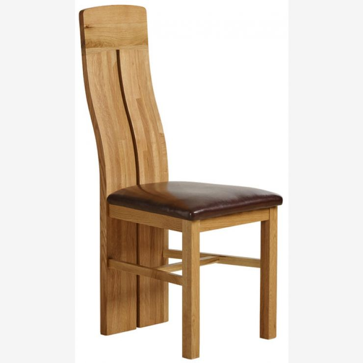 Oak Furnitureland & Lily Natural Solid Oak and Brown Leather Dining Chair