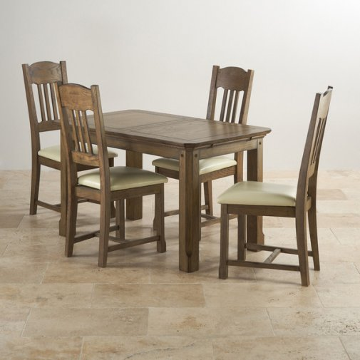 "Manor House Vintage Solid Oak 4ft 3"" x 2ft 7"" Extending Dining Table with 4 Cream Manor House Chairs"