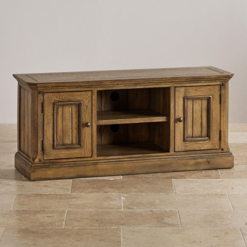 Manor House Vintage Solid Oak Large TV Cabinet