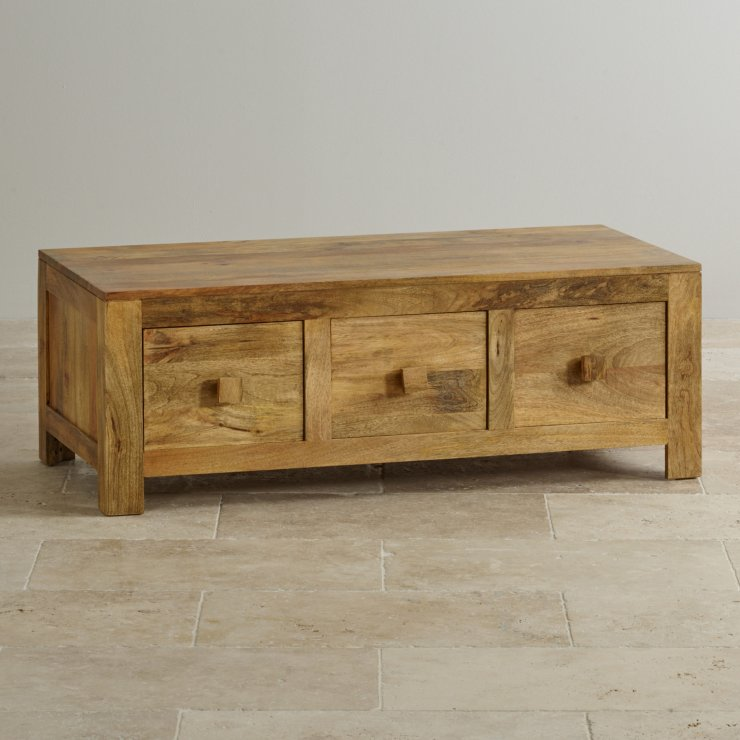 Mantis Light 6 Drawer Coffee Table In Natural Solid Mango