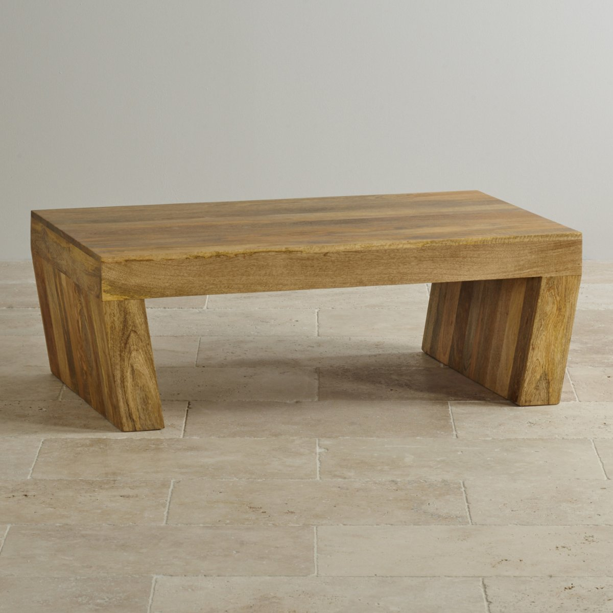 Mantis Light Natural Solid Mango Coffee Table With Angled Legs