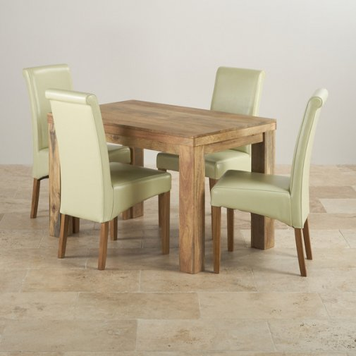 Mantis Light Natural Solid Mango Dining Set - 4ft Table with 4 Scroll Back Cream Leather Chairs