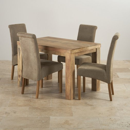 Mantis Light Natural Solid Mango Dining Set - 4ft Table with 4 Scroll Back Sage Fabric Chairs