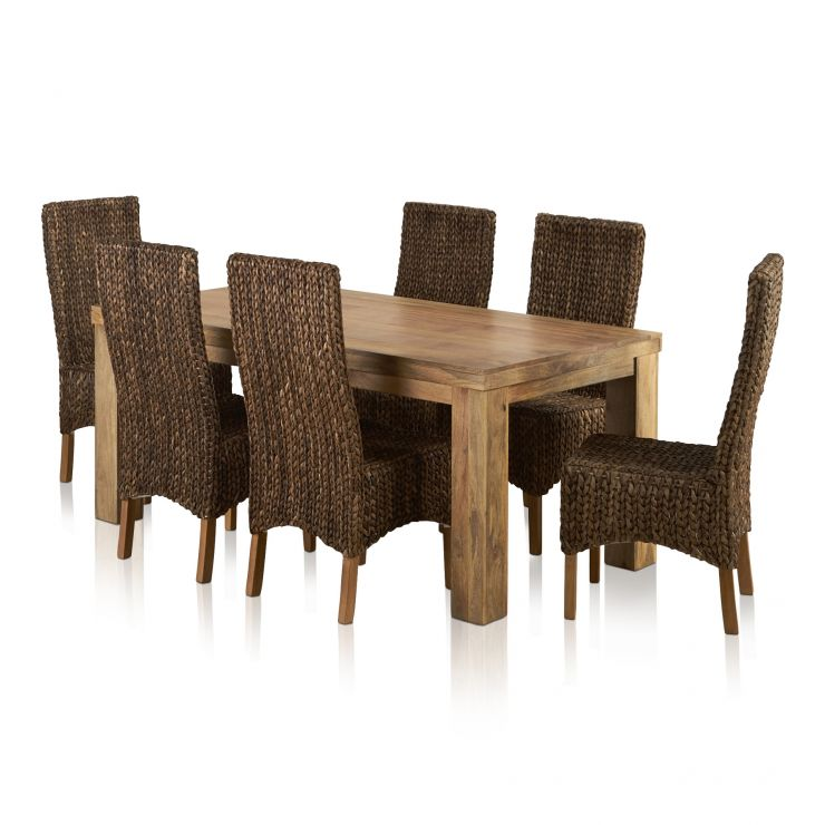 Mantis Light Natural Solid Mango Dining Set   6ft Table With 6 High Back  Grass Chairs Express Delivery